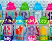 PERSONALIZED Sippy Cup with Attached Snack Container & Straw, Water Bottle, Birthday Party Favor, Toy Story, Lot of 5