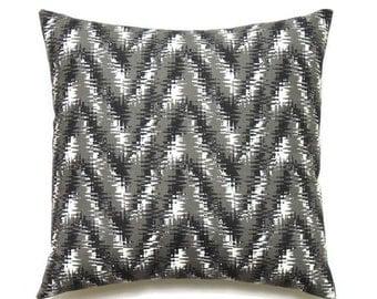 Black Pillow Cover, 16x16 Pillow Cover, Decorative Pillows, Chevron Throw Pillow, Zig Zag Pillow Covers, Rhodes Shadow Black