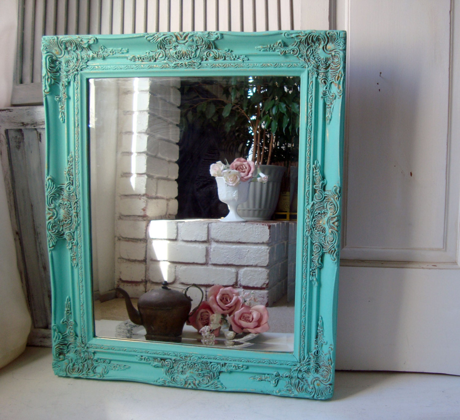 Turquoise Shabby Chic Bedrooms: Aqua Vintage Ornate Mirror Beach Cottage Aqua Blue Painted