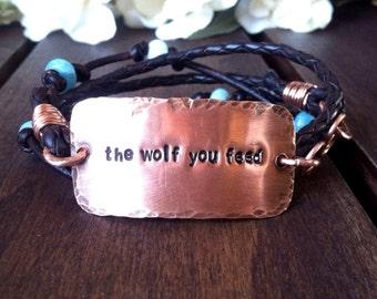 """Women's leather bracelet  - """"the wolf you feed"""" - Copper Bracelet - Cherokee Legend"""