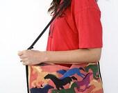Vintage WILD HORSES shoulder bag/ handbag// Southwest vibes// Summer tote