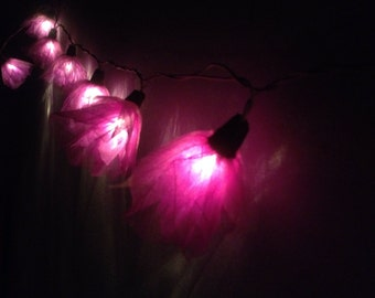 Fairy String Lights 20 Purple Carnation Flower String Lights Wedding Party Home Decoration