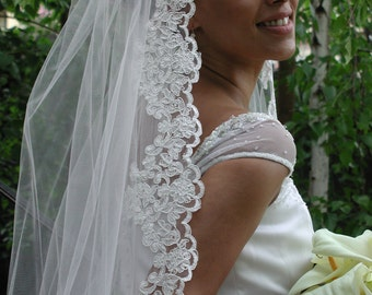 "Mantila veil - Chapel length 75"" long. Mantilla wedding veil."