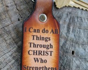"Key Chain Tooled Leather ""Philippians 4:13"" I Can Do All Things... --Name or Initials engraved free! Gift Box included!"