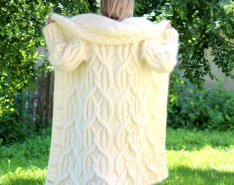Hand Knit Mohair Coat Shawl Collar Cardigan White Fuzzy Sweater Hooded Jacket by EXTRAVAGANTZA - MADE to ORDER