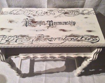 The Oscar, vintage table in white with typography
