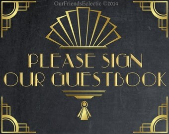 art deco guestbook sign, digital wedding sign, chalkboard wedding sign, 8 x 10, digital download,  you print