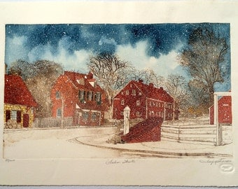 "Fine Art Etching - Salem Winter -  Limited Edition Hand Colored Etching - Image Size 17"" x 10"""