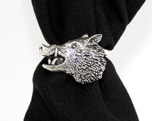 Wild Boar's Head Scarf Ring in Fine English Pewter, Handmade in Great Britain (ab-2)