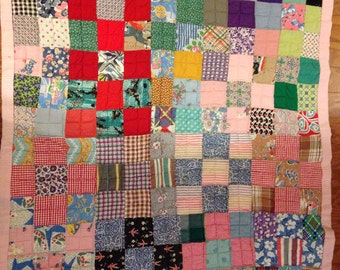 Hand made Vintage pink baby toddler lap quilt