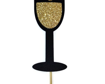 Photo Booth Prop - Champagne Photo Booth Prop with Glitter