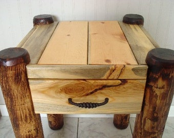 Log Side Table with drawer