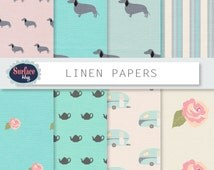Digital paper LINEN PAPERS teal digital paper Dachshund pattern Shabby paper Camper van paper Tiffany colour with Floral digital