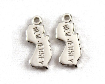 2x Silver Plated Engraved New Jersey State Charms - M072-NJ
