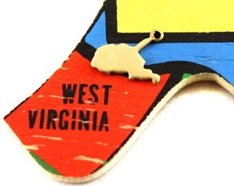 6x Blank Brass West Virginia State Charms - M073-WV