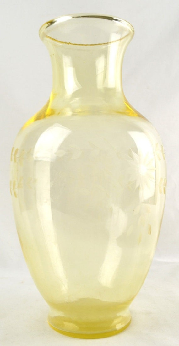Antique Yellow Glass Floral Etched Vase Large by ...