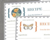 Set of 5 Printable Recipe Cards Flowers and Butterflies (Bridal Shower or Home Kitchen Use)