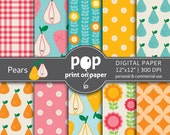 Digital paper PEARS digital papers picnic, birthday party, kids digital paper, fun invites, cute background digital paper
