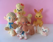 Cutest Vintage 1950s Rubber BABY ANIMALS Squeak Toys SUPER Adorable Group of 6!