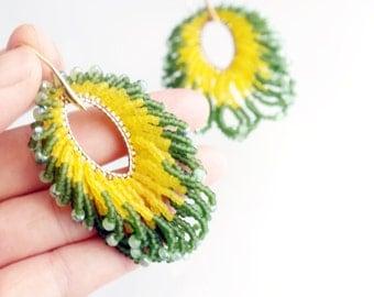 Crystal Earrings, Dangle Unique Luxury Handmade Silver Bohemian seed Beaded Green Gifts Statement Earrings, Korean Jewelry, gotagt team
