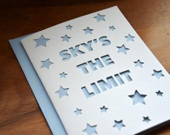 Die-Cut Sky's The Limit Card in Light Blue