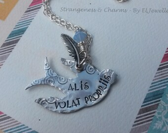 Hand Stamped 'Alis Volat Propriis' Aluminium Swallow Necklace, Bird, Fly, Inspirational, Latin Words, With Brave Wings, She Flies, Feather