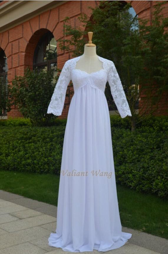 Ivory lace empire waist chiffon wedding dress floor length for Ivory empire waist wedding dress