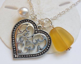 Yellow Sea Glass Necklace, Beach Glass Necklace, Sea Glass Jewelry, Beach Glass Jewelery, Heart Charm Necklace, Free Shipping in the US.