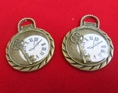 """Large 2pc """"watch"""" charms in antique bronze style (BC107)"""