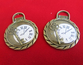 "Large 2pc ""watch"" charms in antique bronze style (BC107)"