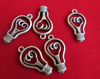 """5pc """"light bulb"""" charms in antique bronze style (BC131)"""