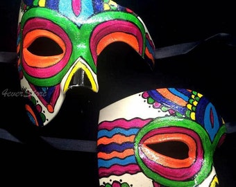 Dia de los Muertos Sugar Skull Mask Set, Day of the Dead Jewelry Mask, Masquerade Mask for Halloween, Weddings & Costumes