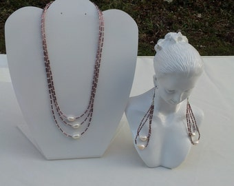 Handmade necklace with real fresh water pearl # 00N16