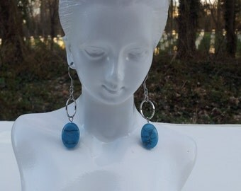 Handmade earrings with blue gemstone #00E20