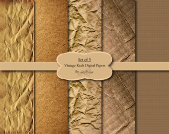 Old Vintage Digital Kraft Paper, Textured Paper, Scrapbooking, Crafts, Supply, Grunge, Instant Download, Digital Scrapbooking, Kraft