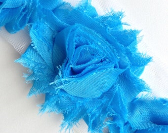 Shabby Rose Flower Trim--Blue