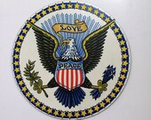 Vintage Round Americana Plaque/ Large American Eagle: Love & Peace/ Patriotic Sign USA Seal