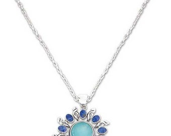 Sterling Silver, Lapis Lazuli and Turquoise Sunburst Necklace