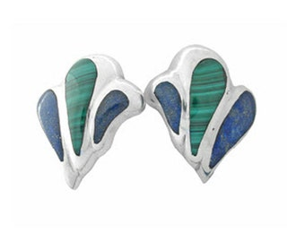 Sterling Silver, Lapis Lazuli and Malachite Art Deco Feather Earrings