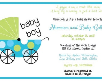 Boy Baby Carriage Invitation