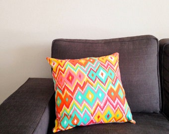 Yellow and Red Ikat Pillow Cover