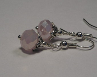 Pink Crystal and Silver Bead Cap Earrings
