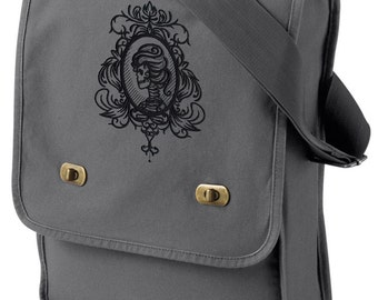Gothic Gala Skull Cameo Embroidered Canvas Field Bag