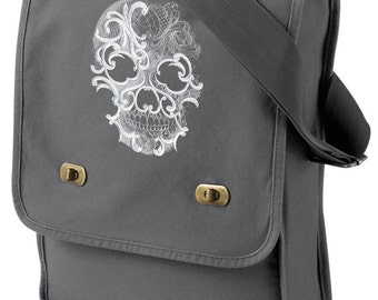 Ghost Baroque - Skull Embroidered Canvas Field Bag