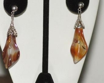 Ref.ESS111/Carnelian calla lily silver earrings.