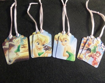 Set of 8 Tinkerbell Gift Tags, Girls Party Slupplies, Hand Stamped, Fairy Garden, Girl Friends