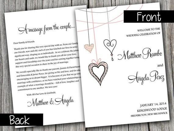 half fold wedding program template heart strings blush pink