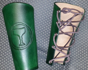 Custom Bracers Arm Guards for LARP SCA Cosplay Steampunk with hand tooled image
