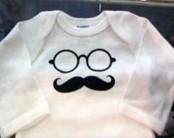 Mustache with Glasses Design Onesie
