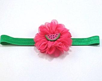 Luciana- Hot Pink Headband, Watermelon Headband, Green Headband, Pink Headband, Summer Headband, Birthday Headband, Watermelon Clip